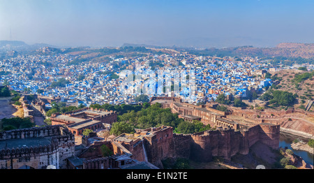 Panorama of Jodhpur,known as 'Blue City' due to the blue-painted Brahmin houses. View from Mehrangarh Fort, Jodphur, - Stock Photo