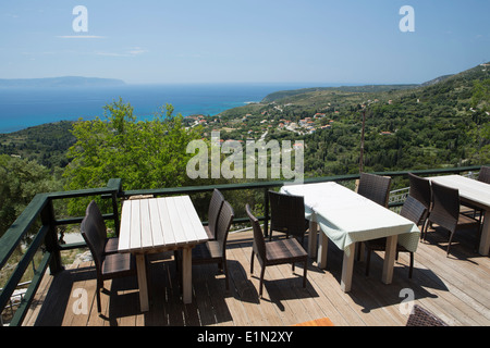 The view across Old Skala towards Zante from the Kelari Taverna, Kefalonia, Greece - Stock Photo