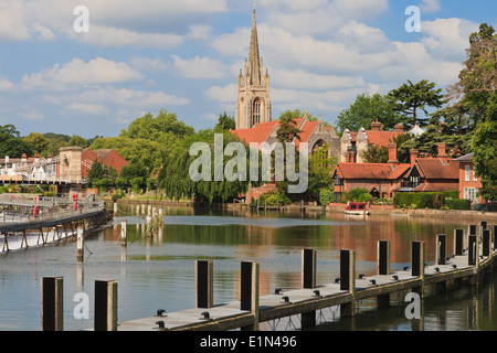 Tranquil scene at Marlow, Buckinghamshire, on a summer's day. - Stock Photo