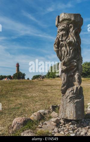 God sculpture Svantevit, Jaromarsburg at Cape Arkona, Wittow, Ruegen Island, Mecklenburg-Western Pomerania, Germany, - Stock Photo