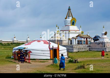 Mongolia, Ovorkhangai, Kharkhorin, Erdene Zuu Monastery, Orkhon valley, Unesco world heritage - Stock Photo