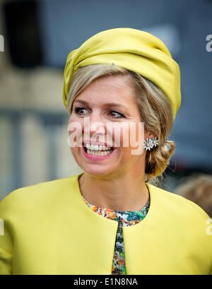 Sword Beach, Ouistreham, France. 6th June, 2014. Queen Maxima of The Netherlands attend the D-Day commemoration - Stock Photo