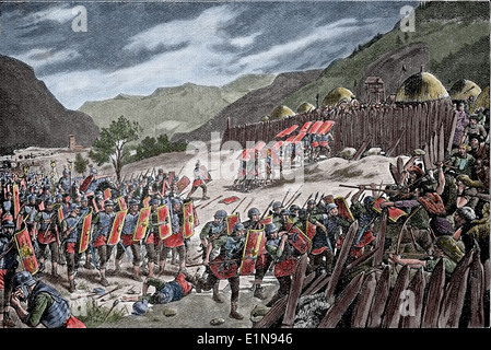 Conquest. Roman soldiers breaking into the German camp. Engraving. Later colouration. Caesar in Gaul, 1917. - Stock Photo