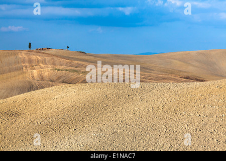 Ploughed land in region of Mucigliani (between Siena and Asciano), Crete Senesi, Province of Siena, Tuscany, Italy - Stock Photo
