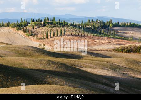 Landscape in region between Siena and Asciano, Crete Senesi, Province of Siena, Tuscany, Italy - Stock Photo