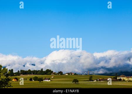 Vineyards adjacent the CERN accelerator centre in Geneva, Switzerland - Stock Photo