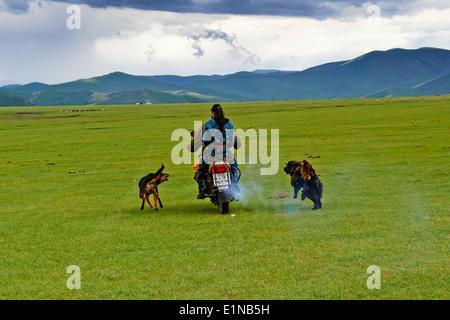 Mongolia, Ovorkhangai province, Okhon valley, Nomad with motorbike - Stock Photo
