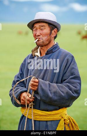Mongolia, Ovorkhangai province, Okhon valley, Nomad - Stock Photo