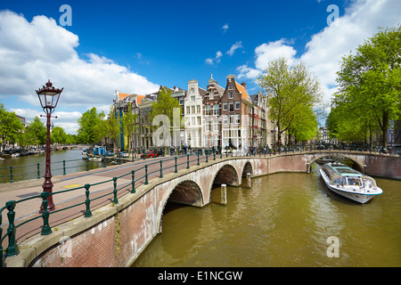 Amsterdam canal - Holland Netherlands - Stock Photo