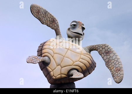 Statue of Crush, the turtle character from the film Finding Nemo, at Disneyland, Paris - Stock Photo