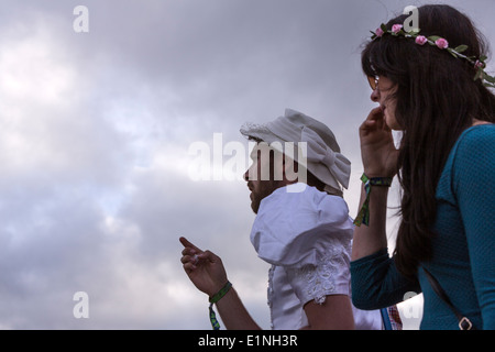 Fancy dressed man and woman. Glastonbury Festival 2013 - Stock Photo