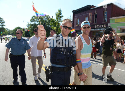 Washington, DC, USA. 7th June, 2014. People attend the 39th Capital Pride Parade in Washington, DC, the United States, - Stock Photo