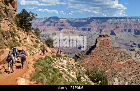 Hikers descending South Kaibab Trail in Grand Canyon looking toward O'Neill Butte May 12, 2013 at the Grand Canyon - Stock Photo