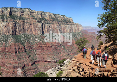 Hikers descending South Kaibab Trail in Grand Canyon to Cedar Ridge May 12, 2013 at the Grand Canyon National Park, - Stock Photo