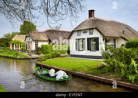 Giethoorn canal village - Holland Netherlands - Stock Photo