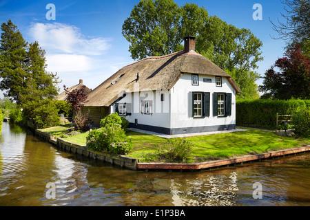 Giethoorn canals village - Holland Netherlands - Stock Photo