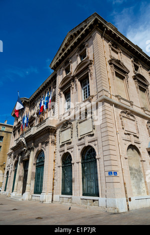 L'Hotel de Ville in the old Port of Marseille, France - Stock Photo