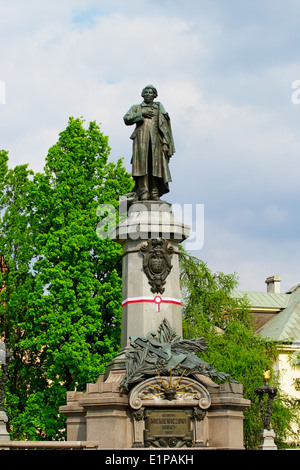 Monument to Adam Mickiewicz, famous Polish romantic poet. Warsaw, Poland. - Stock Photo
