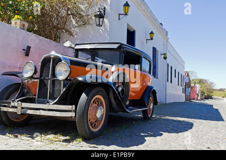 vintage car in Colonia del Sacramento street. Colonial village in Silver River, Uruguay. - Stock Photo