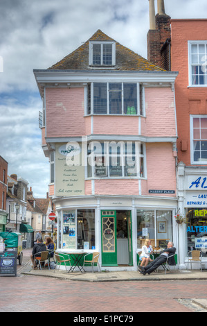 corner cafe in small town   village cafe Faversham - Stock Photo