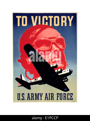 American propaganda poster WW2 with pilot and flying fortress bomber aircraft - Stock Photo