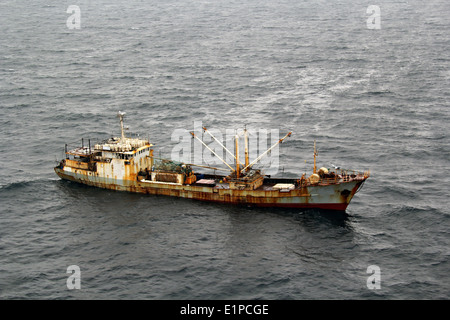Aerial view of the Chinese fishing vessel Yin Yuan detained for illegal fishing using drift nets by the US Coast - Stock Photo