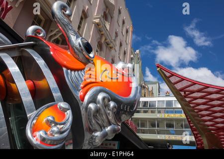 Brisbane Australia Queensland Fortitude Valley Chinatown Brunswick Street dragon sculpture metal - Stock Photo