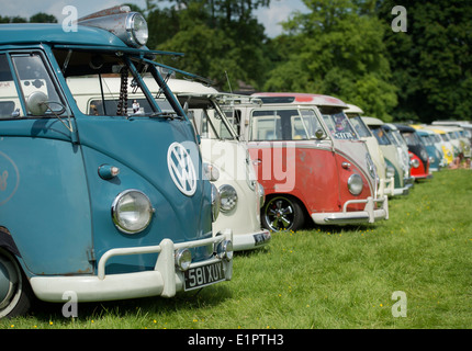 Line of VW Split Screen Volkswagen camper vans at a VW show. England - Stock Photo