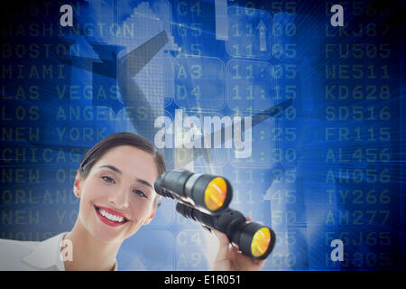 Composite image of smiling business woman with binoculars - Stock Photo