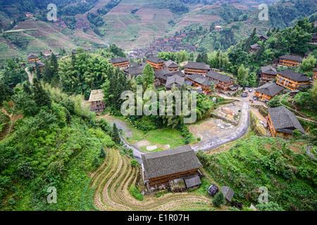 Longsheng village in Guangxi, China. - Stock Photo