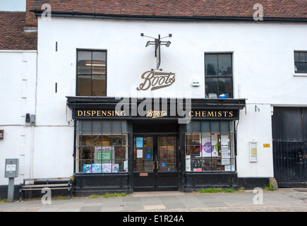 Midhurst West Sussex UK - Unusual Boots the Chemists shop in old building - Stock Photo