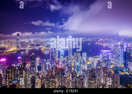 Hong Kong, China city skyline from Victoria Peak. - Stock Photo