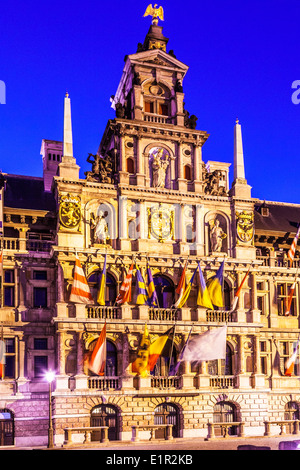 The Town Hall, (Stadhuis) in the Grote Markt, main square in Antwerp, Belgium. - Stock Photo