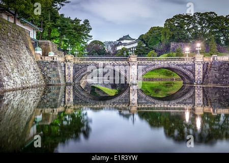 Tokyo, Japan Imperial Palace at night. - Stock Photo