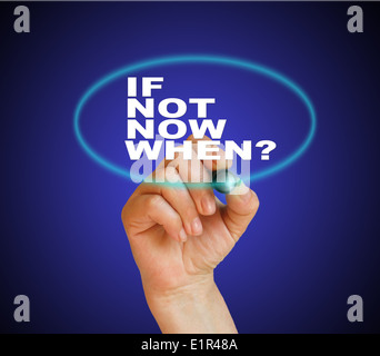 writing word if not now, when? with marker on gradient background made in 2d software - Stock Photo