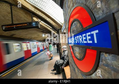 Platform at Baker Street on the London Underground, England UK - Stock Photo