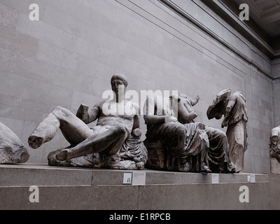 The Parthenon or Elgin Marbles inside the British Museum in London. This is a sculpture from the Parthenon's east - Stock Photo