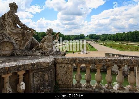 Terrace and gardens of the Château de Vaux-le-Vicomte near Paris - Stock Photo