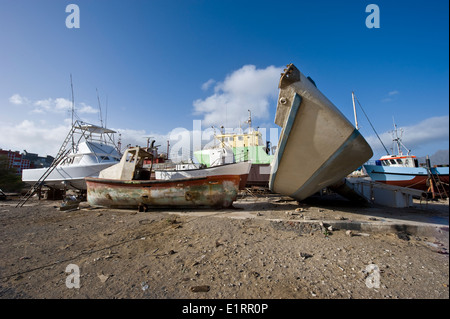 The shipyard in Mindelo, Cape Verde Islands - Stock Photo