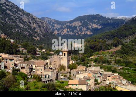 Overview to the village Valldemossa Valdemossa Majorca Spain - Stock Photo