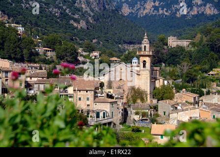 Overview to the village Valldemossa Valdemosa Majorca Spain - Stock Photo