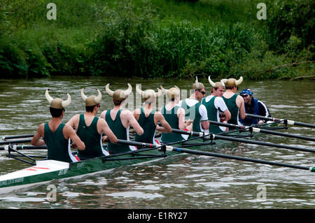 Oxford May Eights, a Jesus College men`s eight, Oxford, UK - Stock Photo