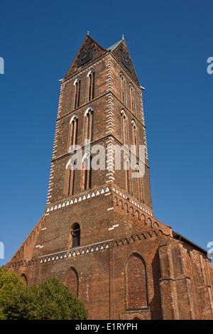 Europe, Germany, Mecklenburg-Western Pomerania,Wismar,Marienkirche, St. Mary's Church Tower - Stock Photo