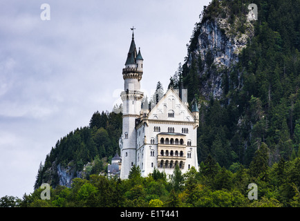 Nuschwanstein Castle. Nineteenth-century Romanesque Revival palace on a rugged hill in southern Bavaria, Germany - Stock Photo