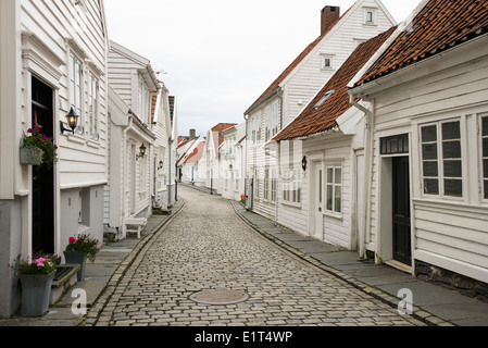 White wooden streets and houses of Old Stavanger or Gamle Stavanger in Norway - Stock Photo