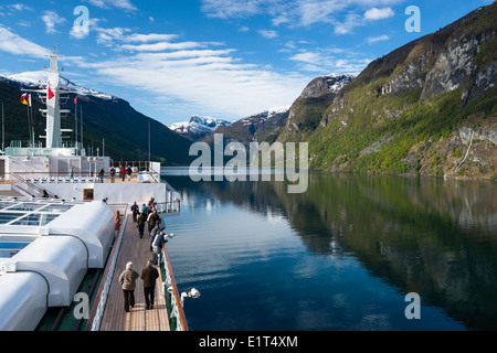 Aurlandsfjord in spring, off Sognefjord, Norway viewed from the deck of MV Arcadia, cruise ship - Stock Photo