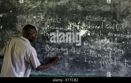 A teacher takes his class at a NGO funded school in the Nakasongola region of Uganda - Stock Photo