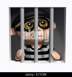 3d Burglar behind bars - Stock Photo