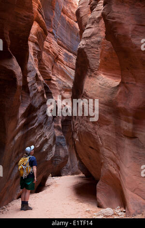 Hiker in Buckskin Gulch, Paria Canyon-Vermilion Cliffs Wilderness Area, Utah, United States of America - Stock Photo