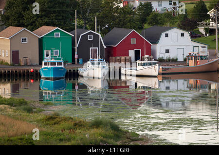 The view of boats in harbour from Hostetter's Viewscape, French River, Prince Edward Island - Stock Photo